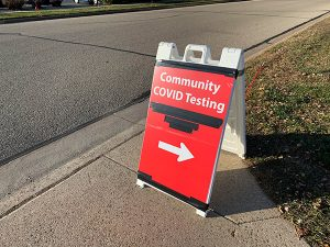 ThedaCare Community COVID Testing road sign